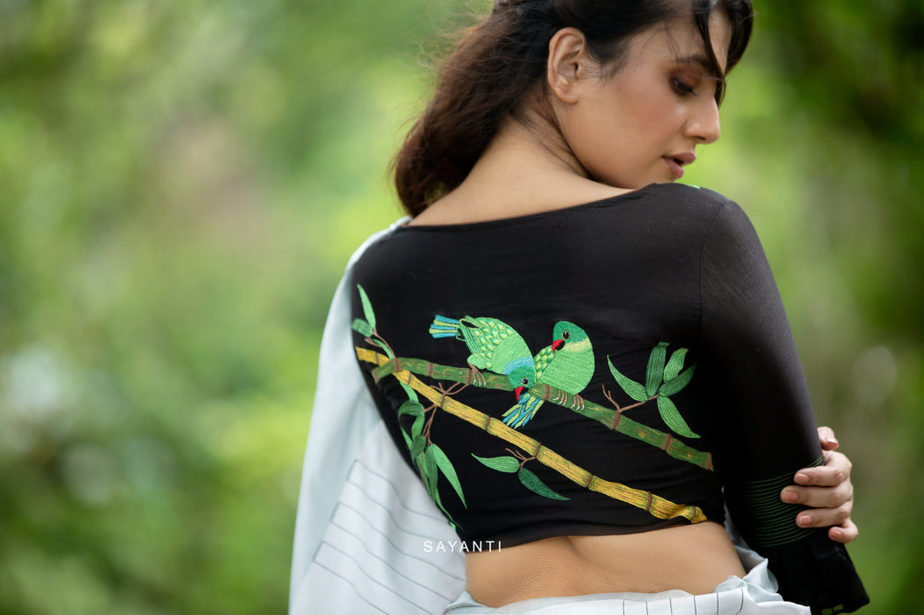 saree blouse with bird embroidery