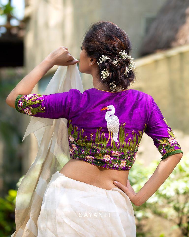 sayanti ghosh saree blouse designs