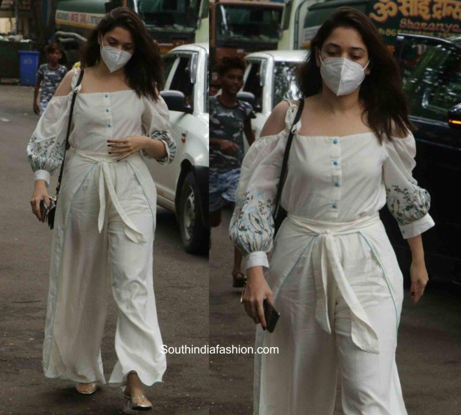 tamannaah bhatia white dress with mask (1)