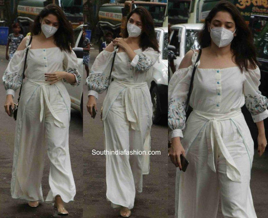 tamannaah bhatia white dress with mask