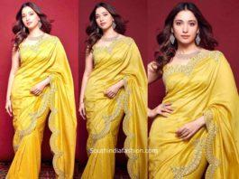 tamannaah bhatia yellow saree malabar gold and diamonds launch