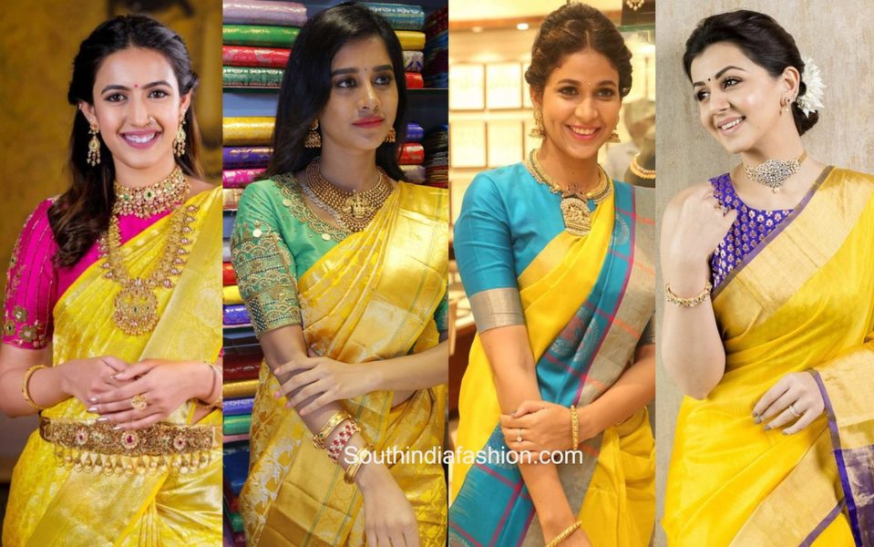 yellow silk sarees with contrast blouses