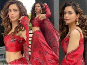 Aamna sharif in red lehenga