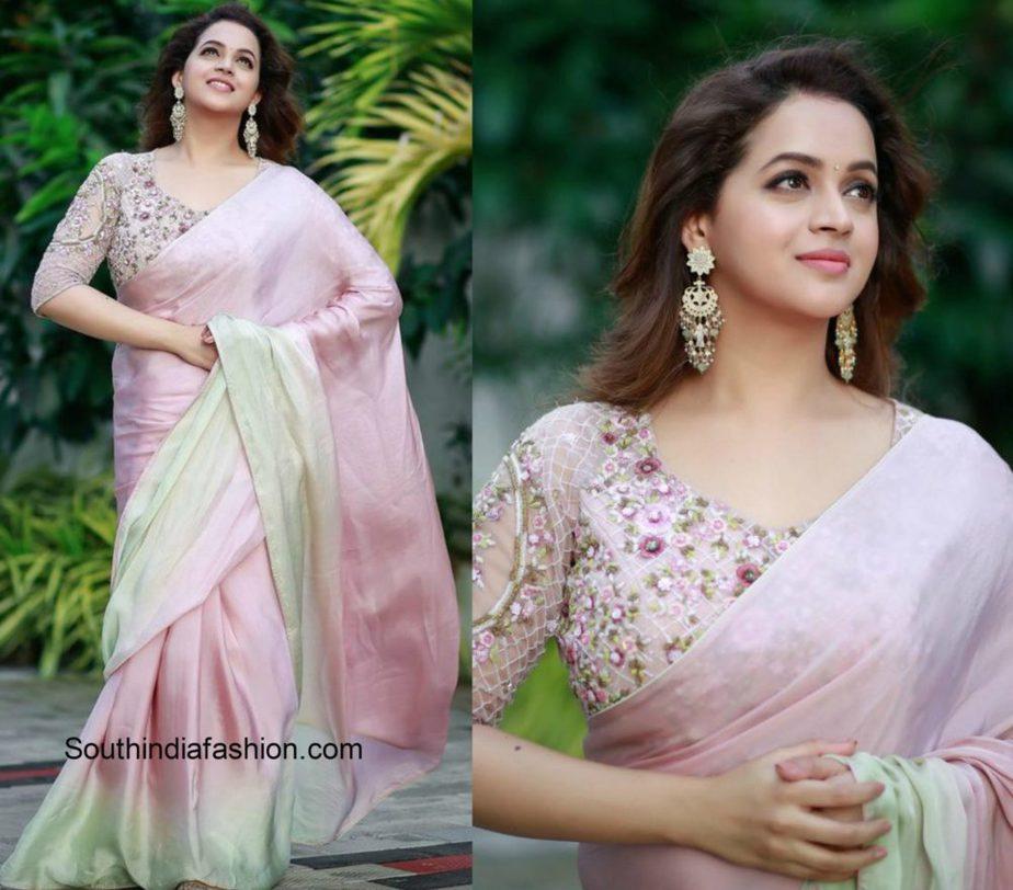 Actress Bhavana in pink saree