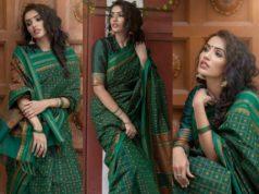 Akshara Gowda in green cotton saree
