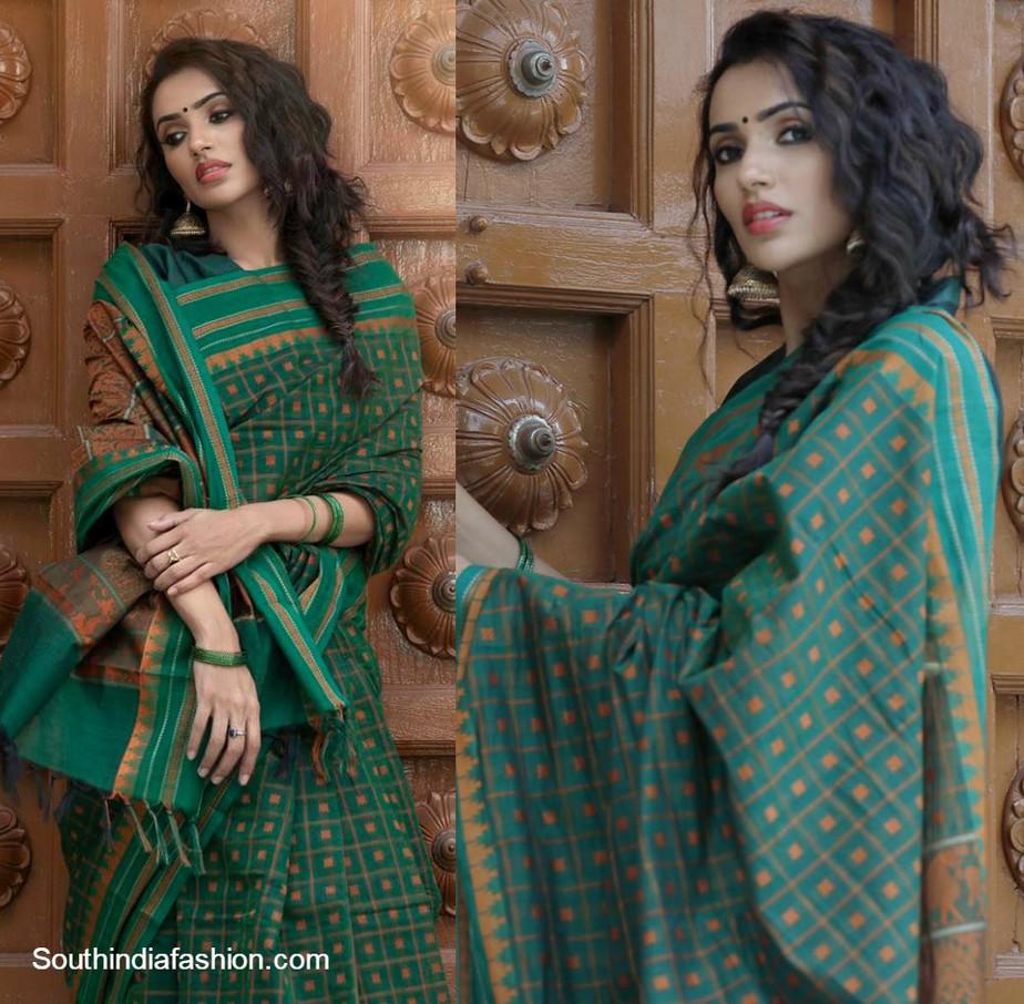 Akshara Gowda in green handloom cotton saree