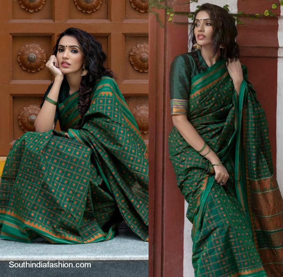 Akshara Gowda in green handloom saree