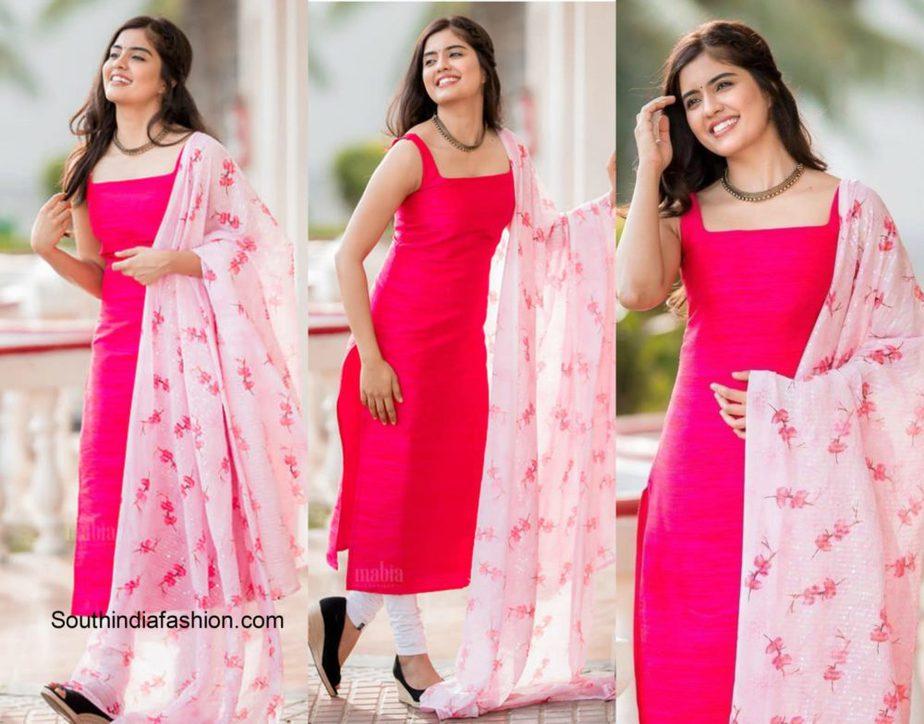 Amritha Aiyer in pink floral salwar