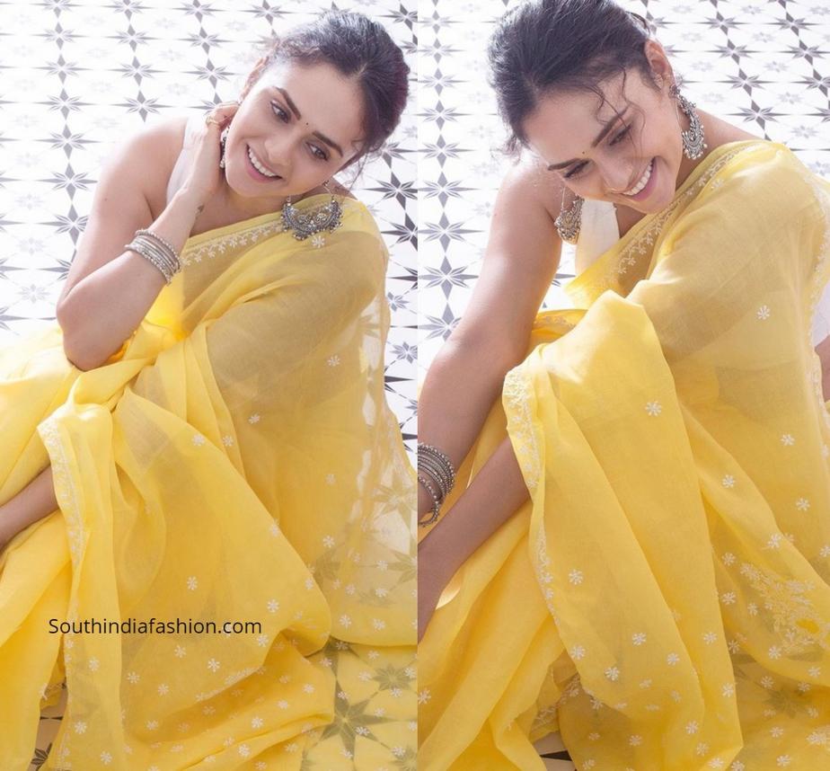 Amruta Khanvilkar in a yellow chikankari saree
