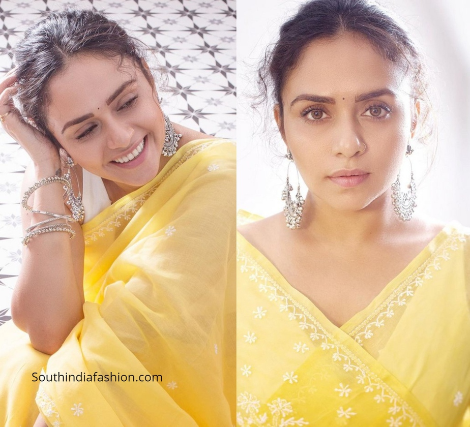 Amruta Khanvilkar in a yellow cotton saree
