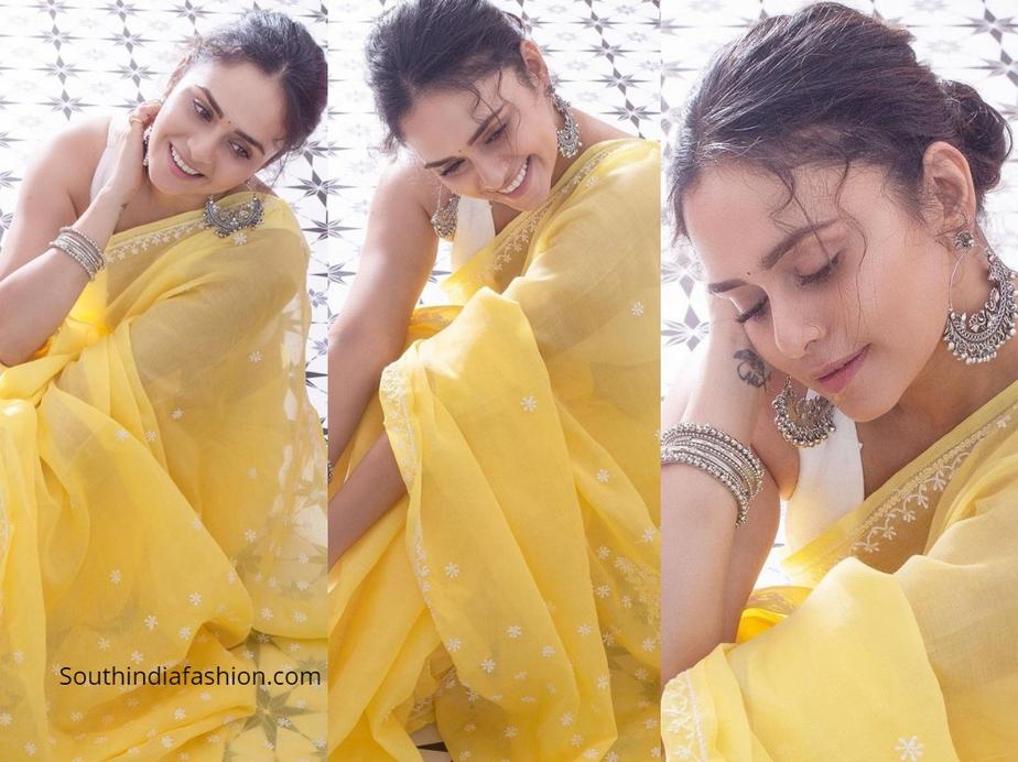 Amruta Khanvilkar in yellow chikankari saree