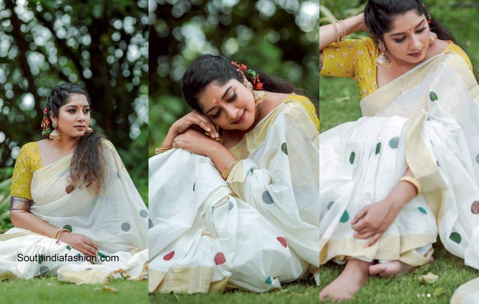 Anumol in a white kerala saree