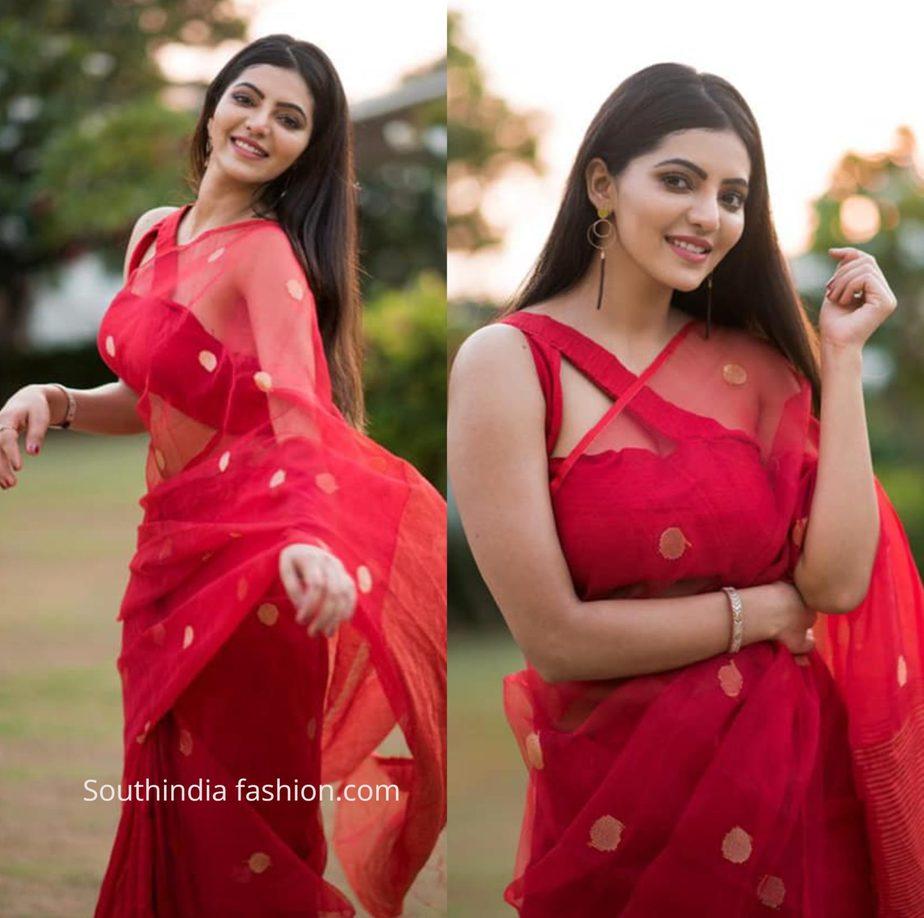 Athulya Ravi in red saree by kiaraaAthulya Ravi in red saree by kiaraa