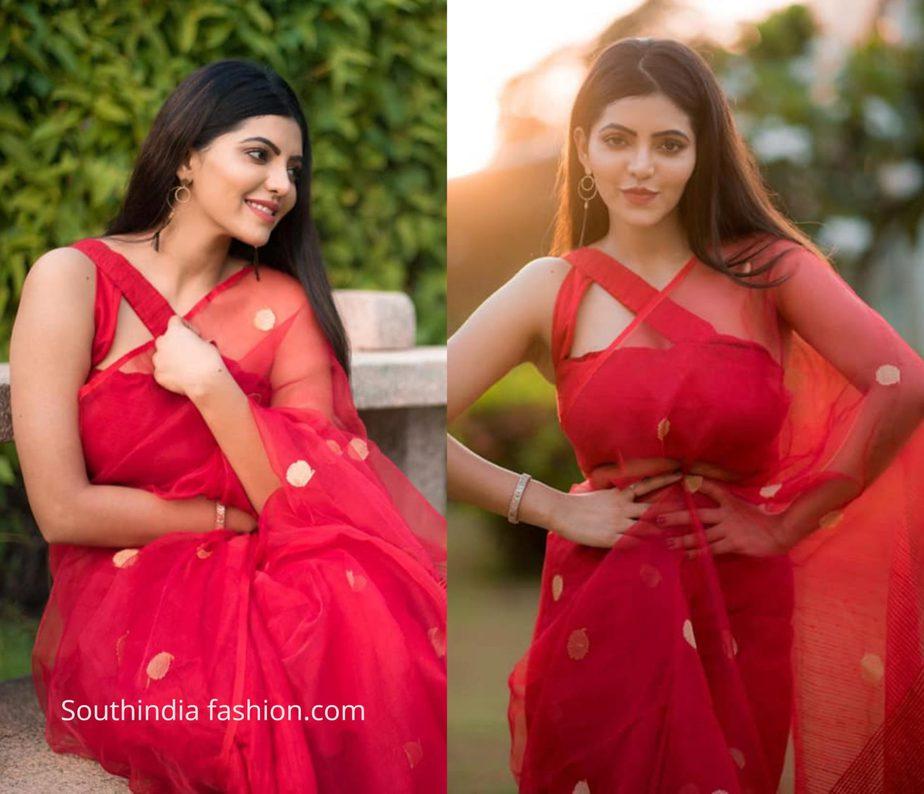 Athulya Ravi in red saree from kiaraa