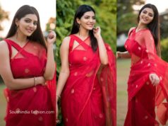 Athulya Ravi in red silk saree