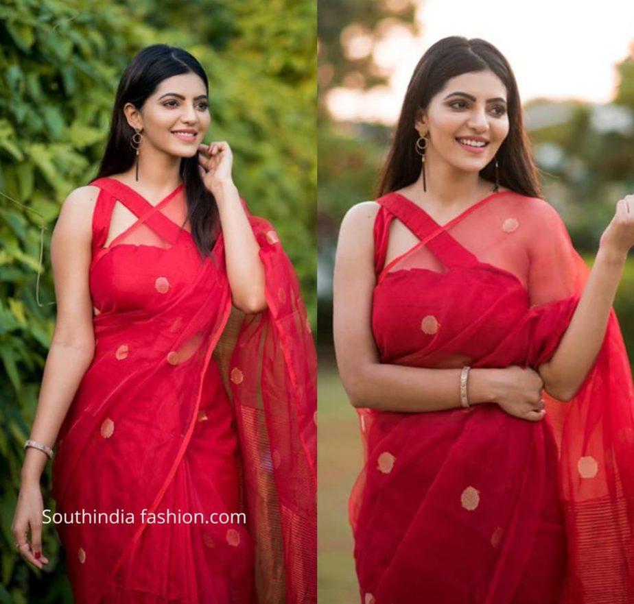Athulya Ravi in red traditional saree