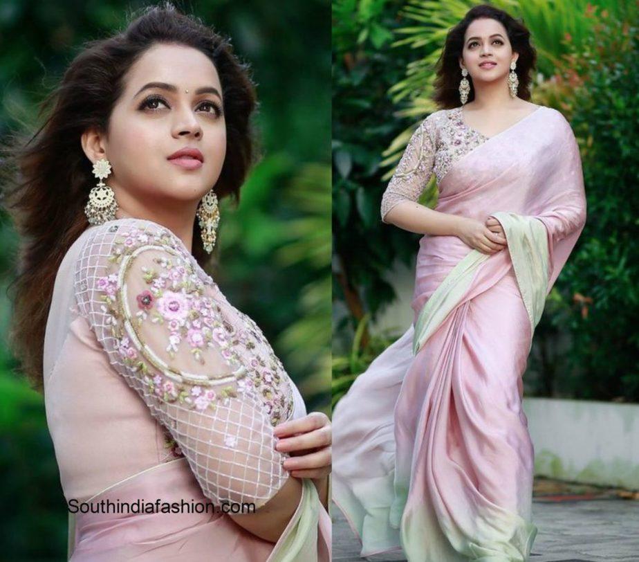 Bhavana in a pink designer georgette saree