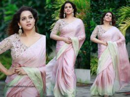Bhavana in a pink georgette saree