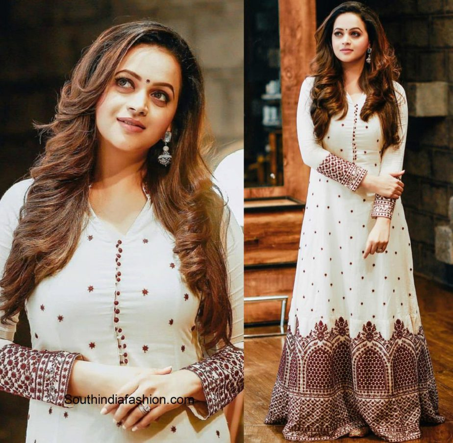 Bhavana in a white and red anarkali
