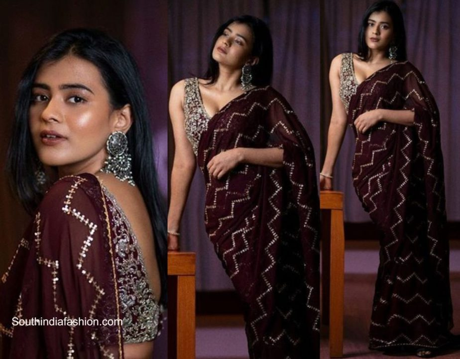 Hebah Patel in a brown party saree
