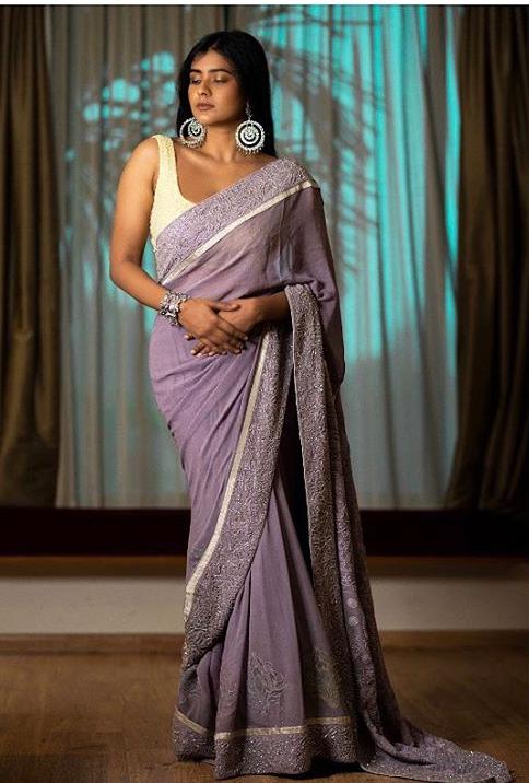 Hebah Patel in a lavender saree