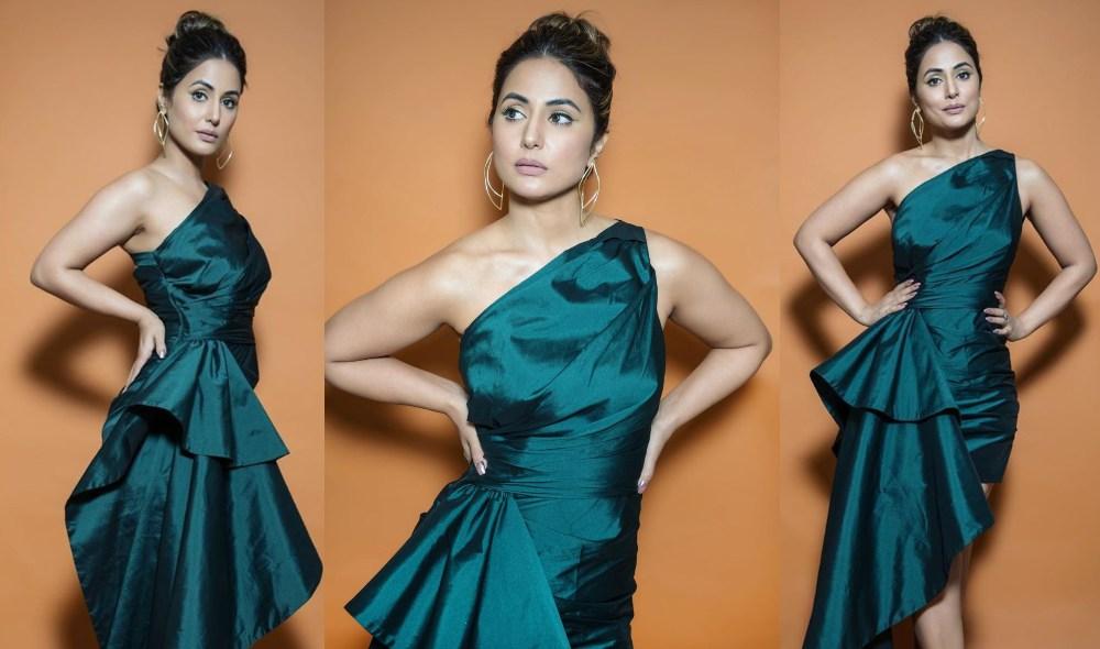 Hina Khan Emerald Green Gown in Big Boss 14