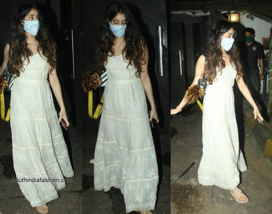 Janhvi Kapoor in white maxi dress