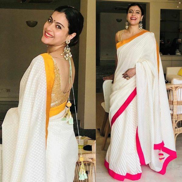 kajol in white saree