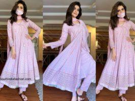 Karishma Tanna in a pink kurta set