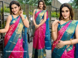 Nidhi Agerwal in traditional silk saree