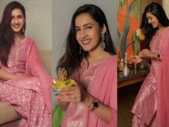 Niharika Konidela in pink Biba suit