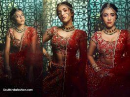 Niharika konidela in a red bridal lehenga