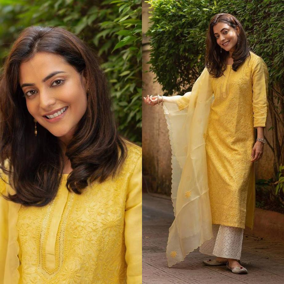Nisha Aggarwal in yellow kurta