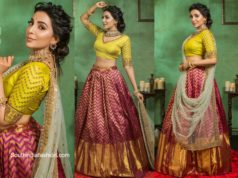 Parvati Nair in red silk lehenga with yellow blouse