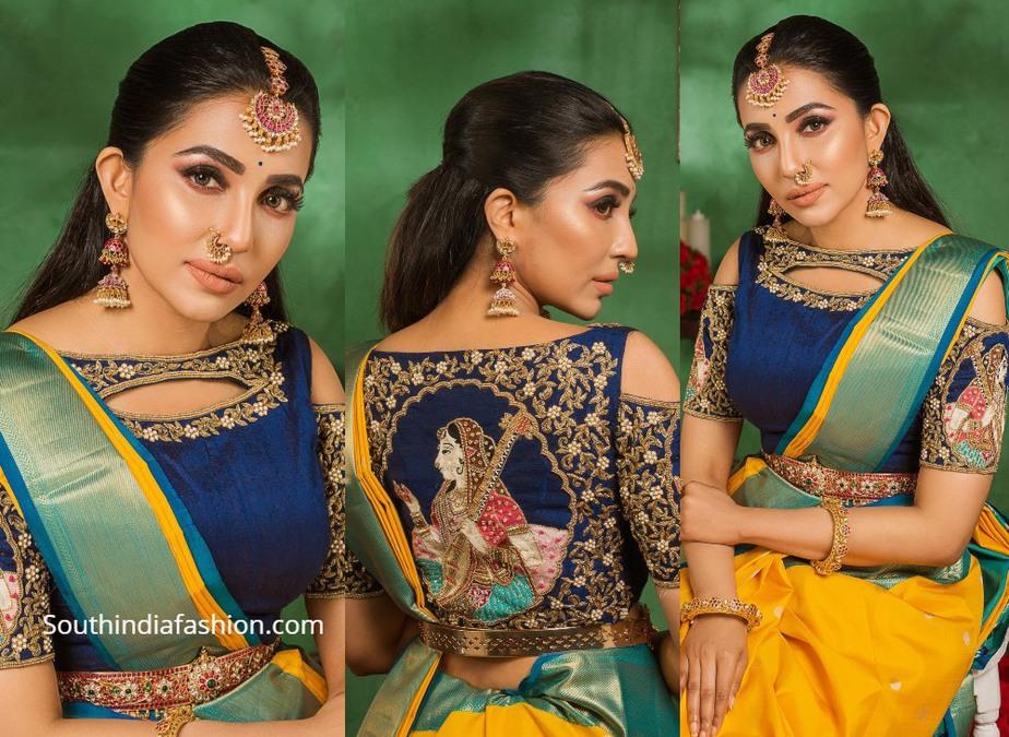 Parvati Nair in yellow festive silk saree (1)