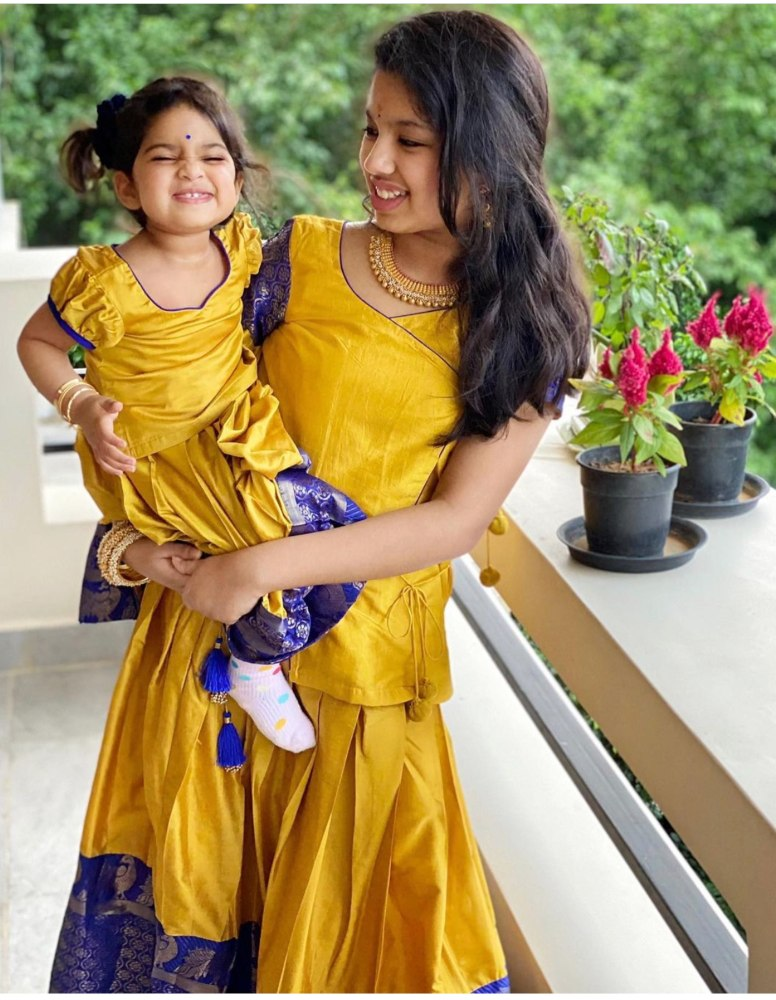 SREEJA DAUGHTERS IN YELLOW LEHENGAS FOR DUSSEHRA