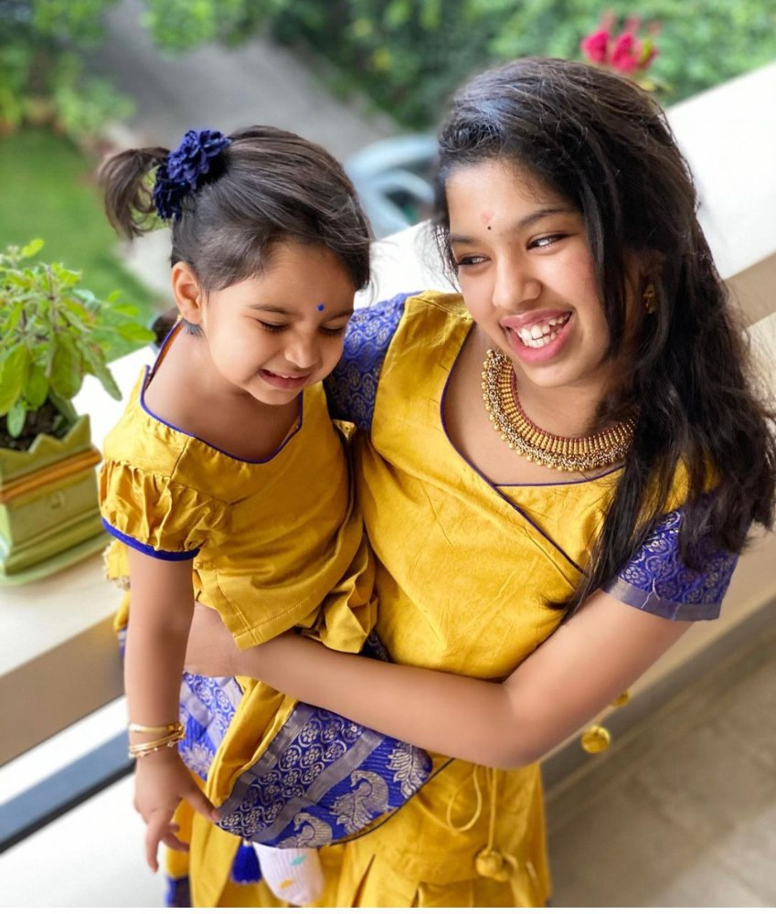 SREEJA KONIDELA DAUGHTERS IN YELLOW LEHENGAS FOR DUSSEHRA