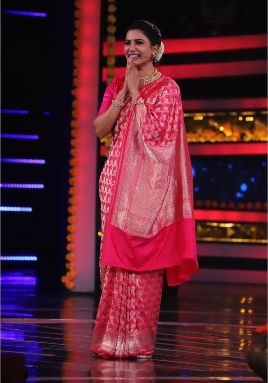 Samantha Prabhu in fuschia saree