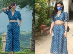 Shweta and Amyra in indigo dress