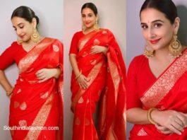 Vidya Balan in red woven banarasi silk saree