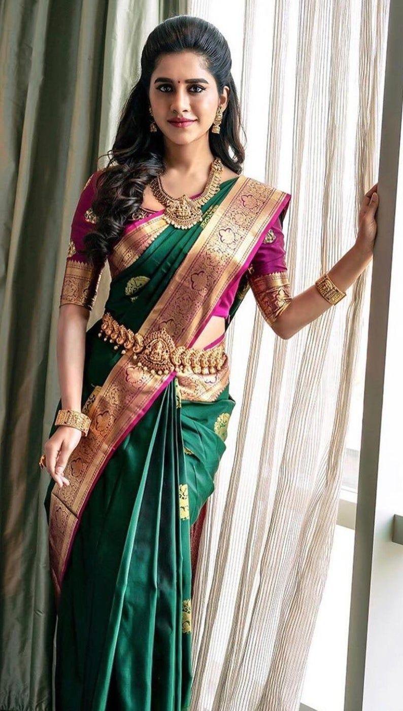 actress in green kanjeevaram