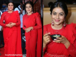 actress poorna in red ruffle saree (3)