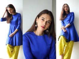 Aditi Rao in persian blue kurta and yellow pants