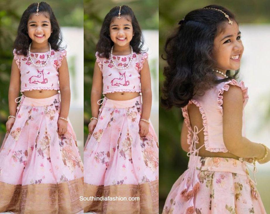allu arjun daughter arha in pink pattu lehenga