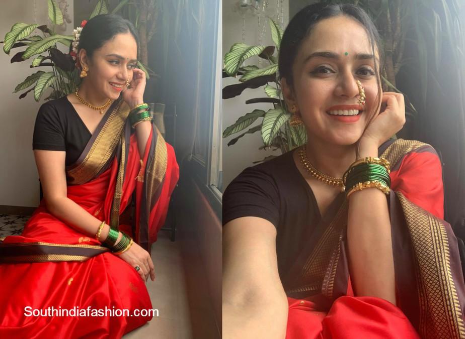 amruta khanvilkar in marathi look for navratri