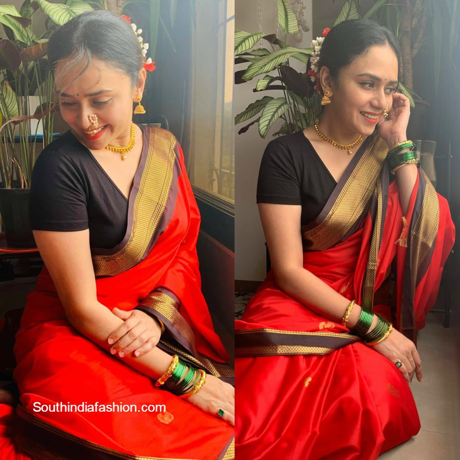 amruta khanvilkar in red marathi traditional look