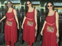 amyra dastur airport look red kurta set