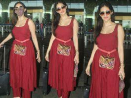 amyra dastur airport look red kurta set