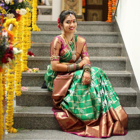 bride green kanjeevaram