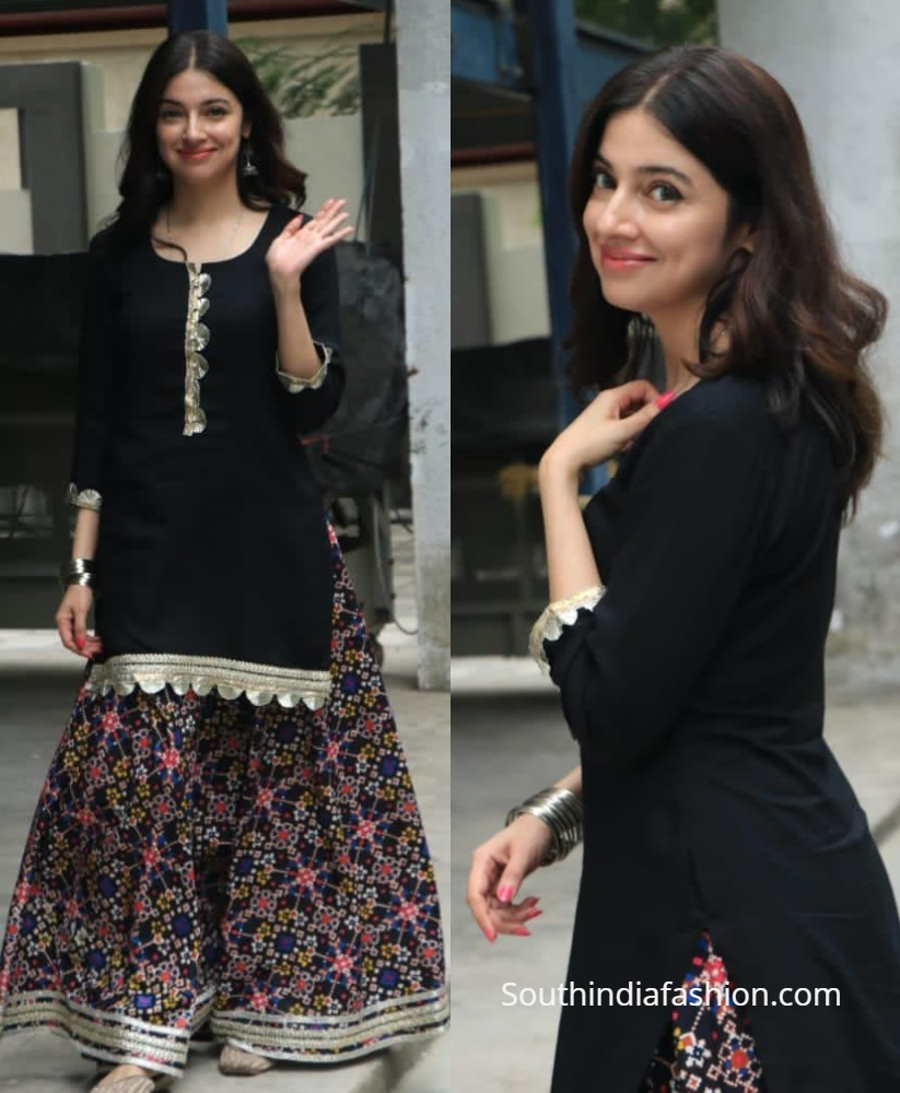 divya khosla kumar in black ethnic salwar skirt